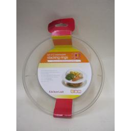 New Kitchen Craft Microwave Clear Stacking Plate Rings Pack Of 2 KCMRING