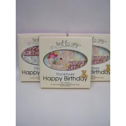 New Just To Say Home Made Birthday Greetings Card box 5 3 x Boxes Teddy Design