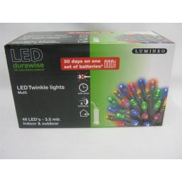 New Durawise LED Battery Twinkle Lights Clear Cable 48 Lights Multi Coloured