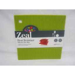 CKS Zeal Heat Resistant Silicone Kitchen Hot Mat Square Trivet J238 Lime 18cm
