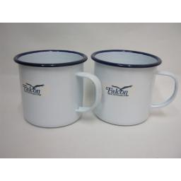 New Falcon White With Blue Trim Enamel Mug Beaker Cup Tea Camping 9cm Pk2