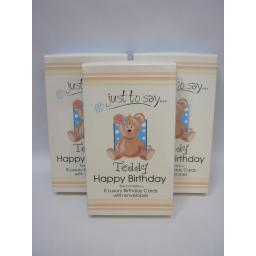 New Just For You Birthday Greetings Card box 8 3x Boxes Assorted Teddy Designs