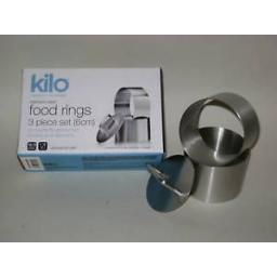 New Kilo Stainless Steel Food Rings 3 Piece Set 6cm Plunger J331