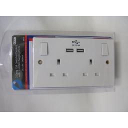 New Lyvia 2 Twin Double Gang White Flush Switched 13A Socket 2 USB Sockets 4410