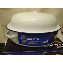 "New Falcon White Enamel Oval Roaster Roasting Dish Casserole 26cm 10 1/4"""