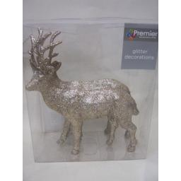 New Premier Christmas Table Decoration Gold Glitter Reindeer 17cm Pk2