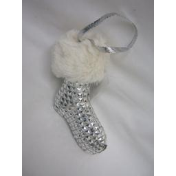 New Christmas Tree Decoration Hanging Silver Boot Sock