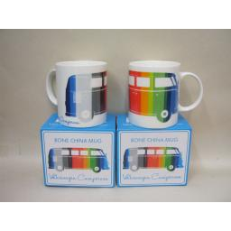 New Volkswagen Bone China Mug Campervan Type 2 Splitty Licensed Multi Stripe Pk2