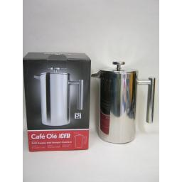 New Grunwerg Stainless Steel Double Walled Coffee Plunger Cafetiere 8 Cup CFD-08