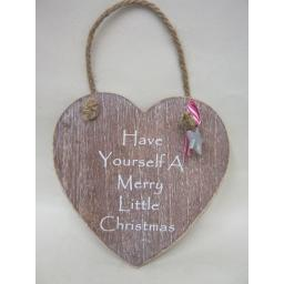 New Wooden Heart Plaque Have Yourself A Merry Little Christmas
