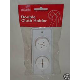 New Croydex Double Cloth Tea Towel Holder White Rubber Push In