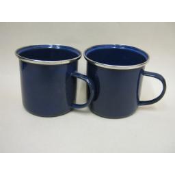 New Boyz Toys Enamel Mug Beaker Cup Tea Camping 8cm Blue Pk2