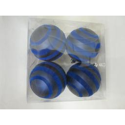 New Christmas Tree Decoration Baubles Shatterproof Pk 4 x 70mm Navy Blue Swirl