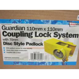 New Streetwize Guardian Coupling Hitch Lock 110mm x 110mm SWTT125 Yellow