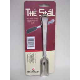 New Grunwerg The Stal Stainless Steel Tea And Spice Scoop With Clip