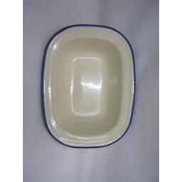 New Victor Cream Enamel Oblong Pie Baking Dish Tin With Blue Trim 16cm EN230BL
