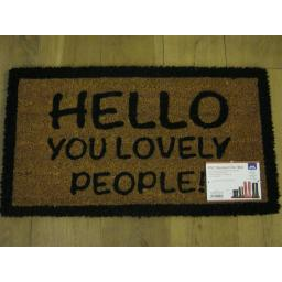 New JVL PVC Backed Novelty Coir Door Mat Doormat Hello You Lovely People 02-425