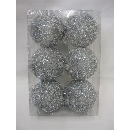 New Christmas Tree Decoration Baubles Shatterproof Pk 6 75mm Silver Tinsel