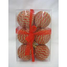 New Christmas Tree Decoration Baubles Shatterproof Pk 6 Rope Design Red Gold