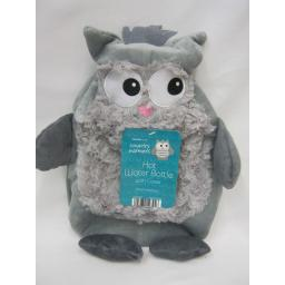 New Country Warmers Covered Hot Water Bottle Grey Fleece Cover Owl