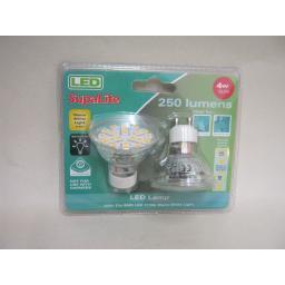 New SupaLite 21 x SMD LED Lamp Bulbs 4W GU10 2700K Warm White Light Pk2 Bulbs