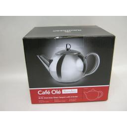 New Grunwerg Cafe Ole Rondeo Stainless Steel Teapot With Infuser RT-035X 1.0L