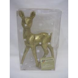 New Premier Christmas Table Decoration Gold Glitter Large Deer 23CM