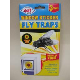 New Doff Fly Trap Window Sticker Daisy Flower Design Traps Flies Pk3
