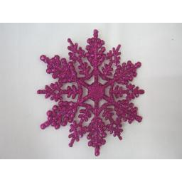 New Premier Christmas Tree Decorations Glitter Snowflakes 10cm Pk10 Pink