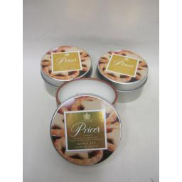 New Prices Wax Scented Candle Tin Christmas Range Pk 3 Triple Pk Mince Pies