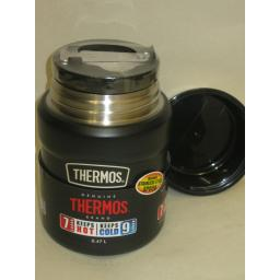 New Thermos Stainless Steel Vacuum Insulated King Food Flask 0.47 Ltr Matt Black