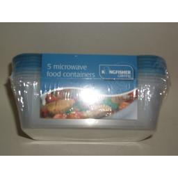 New Kingfisher Microwave Food Containers Dishes Pk 5
