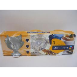 New Luminarc Boiled Egg Cup Cups Glass Chickens Design Set Pk 3