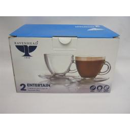 New Ravenhead Cappuccino Cups And Saucers Pk2 Glass 0041.604