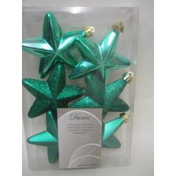 New Kaemingk Christmas Tree Decoration Glitter Stars 75mm Pk6 027877 Emerald