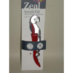 New Zeal Smooth Pull Waiters Friend Wine Bottle Opener Corkscrew Red E176