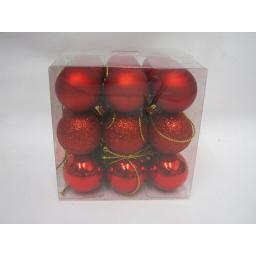 New Christmas Tree Decoration Mini Baubles Shatterproof Pk 27 x 25mm Red