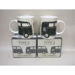 New Volkswagen Bone China Mug Beaker Black Campervan Splitty Licensed VW Pk2