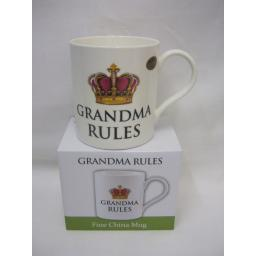 New Fine Bone China Mug Beaker Coffee Tea Cup Grandma Rules LP92361