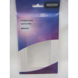 New Dencon White Finger Switch Plate For 2 Gang Double Socket Pk 2 8806/2NB