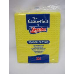 New The Essentials Spontex Sponge Cloth Cloth Super Absorbent and Durable Pk 4