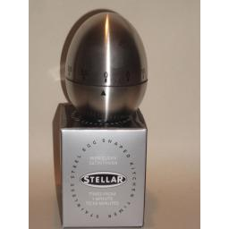 New Stellar Wind Up Mechanical Kitchen Timer 60 Minutes Stainless Steel Egg SA41