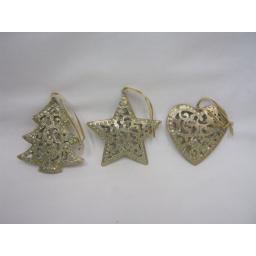 New Christmas Tree Decoration Hanging Filagree Heart Star Tree Metal Gold Glitte