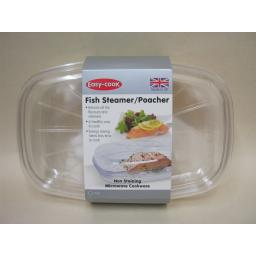 New Easy Cook Microwave Fish Steamer 27cm x 18cm Clear NS625 Non Staining