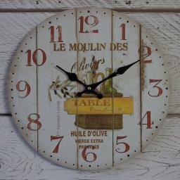 New Round Rustic Wooden Wall Clock Provence Olive Oil 33cm MHH25