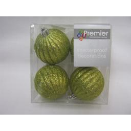 New Premier Christmas Tree Decoration Baubles Shatterproof Pk 4 x 60mm Green
