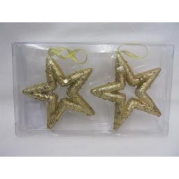 New Christmas Tree Decorations Hanging Glitter Stars Pk2 Gold 12cm