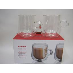 New Judge Set Of 2 Two Double Walled Latte Coffee Clear Glasses 275ML JDG35