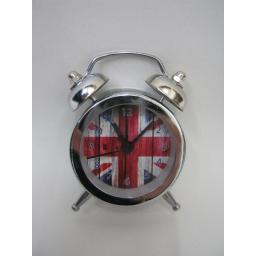 New Mini Double Bell Traditional Battery Alarm Clock Union Flag Jack Design