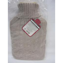 New Covered Hot Water 2Ltr Bottle Knitted Cable knit Jumper Design Beige